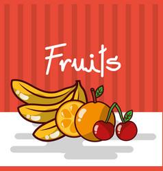 Banana orange cherry fruits fresh juicy collage vector