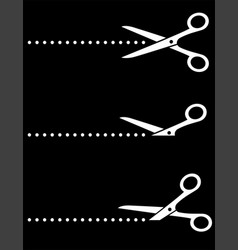 black scissors icon with cut line vector image
