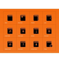 Book icons on orange background vector image