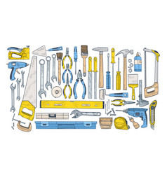 bundle manual and powered tools for handcraft vector image