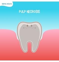 Cartoon bad tooth icon with pupl necrosis vector