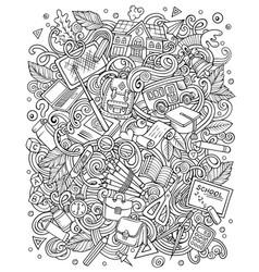 Cartoon doodles funny sketchy school vector