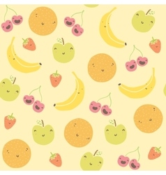 Cartoon funny fruits seamless pattern vector