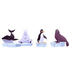 cartoon wild animals on ice floes whale bear vector image