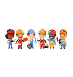 cartoon worker characters with different vector image