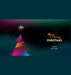 christmas and new year glow gradient tree card vector image