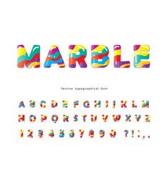 Colorful artistic font marble texture creative vector
