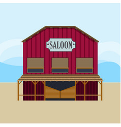 Colorful wild west saloon template vector
