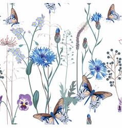 Cornflower viola forget-me-not flowersbutterfly vector