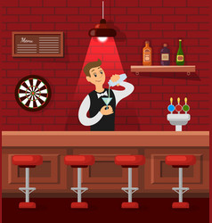 Counter bar bartender pouring cocktail vector