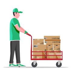 Courier with barrow full boxes isolated vector