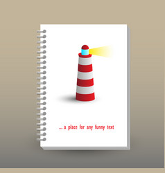 Cover of diary lighting lighthouse symbol vector