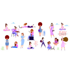 Crowd of tiny women active in the park flat vector