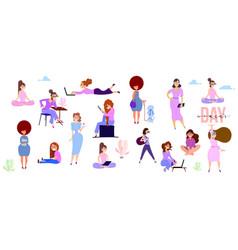 Crowd tiny women active in park flat vector