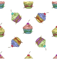 Cupcake colorful pattern vector image