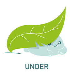 cute dinosaur under leaf learning preposition vector image