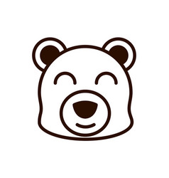 cute face bear animal cartoon icon thick line vector image