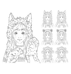 Cute girl with long hair in different animal hats vector