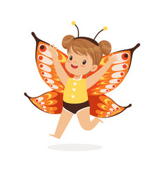 cute happy little girl dressed as a butterfly vector image
