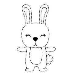 dotted shape cute rabbit wild animal of the forest vector image