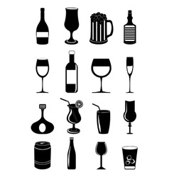 Drink glasses icons set vector image