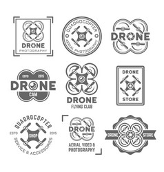 drone or quadrocopter set of black labels vector image