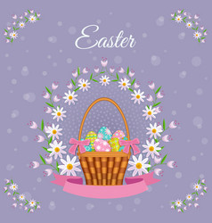 easter poster with eggs basket flowers vector image