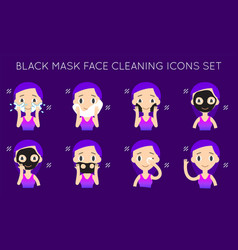 Face cleaning and care black mask step-by-step vector