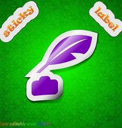 Feather Retro pen icon sign Symbol chic colored vector