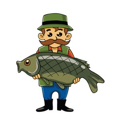 Fisherman Carrying Big Fish vector image