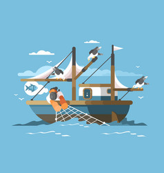 Fisherman pulls fishing net vector