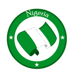 Flag of nigeria on a label vector