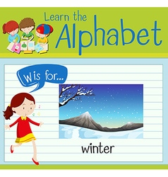 Flashcard alphabet W is for winter vector