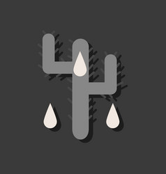 Flat icon design collection cactus and droplets vector