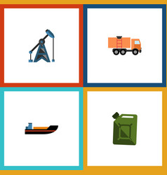 Flat icon oil set of fuel canister van boat and vector