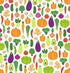 Flat vegetables pattern vector image