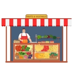 Fresh fruits and vegetables Shop Fruit Seller vector image