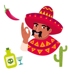 funny cartoon character of mexican men vector image