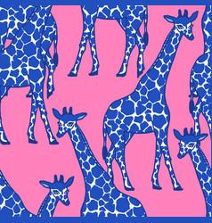 Giraffe allover blue vector