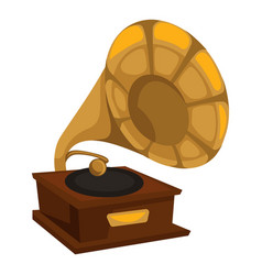 Gold gramophone in 1910s style vinyl disc playing vector