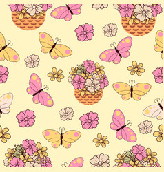 graphic flower seamless pattern vector image