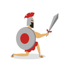 Greek spartan man gladiator is ready to fight with vector