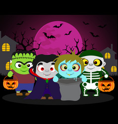 halloween background trick or treat with kids in vector image