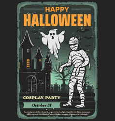 Halloween ghost mummy and bats party invitation vector