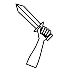 hand whit warrior sword vector image