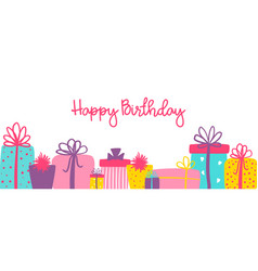 Happy birthday long banner with cute hand drawn vector