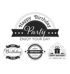 happy birthday to you vintage style stickers with vector image