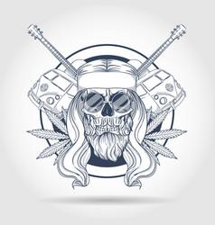 Hippie skull with hair vector