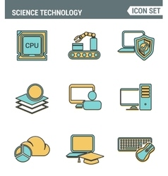 Icons line set premium quality of data science vector