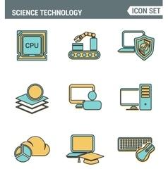 Icons line set premium quality of data science vector